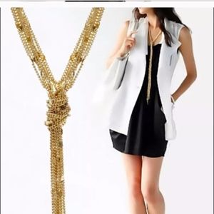 Jewelry - Long Tassel Knot Gold Multi-Strand Necklace